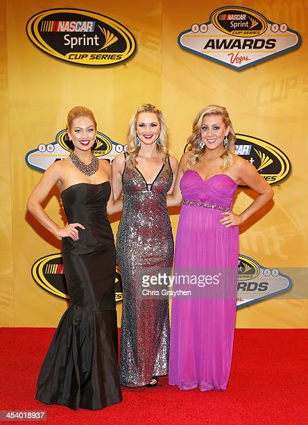 Miss Sprint Cup Brooke Werner Kim Coon and Jaclyn Roney arrive on the red carpet for the NASCAR Sprint Cup Series Champion's Awards at Wynn Las Vegas...
