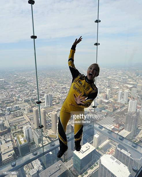 Miss Sprint Cup Brooke Werner poses at the Willis Tower Sky Deck on September 11 2013 in Chicago Illinois