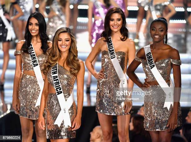 Miss Sri Lanka 2017 Christina Peiris, Miss South Africa 2017 Demi-Leigh Nel-Peters, Miss Thailand 2017 Maria Poonlertlarp, and Miss Ghana 2017 Ruth...
