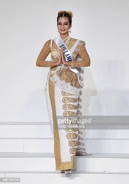 Miss Sri Lanka Angela Jayatissa displays her national costume during the Miss International beauty pageant in Tokyo on November 5 2015...