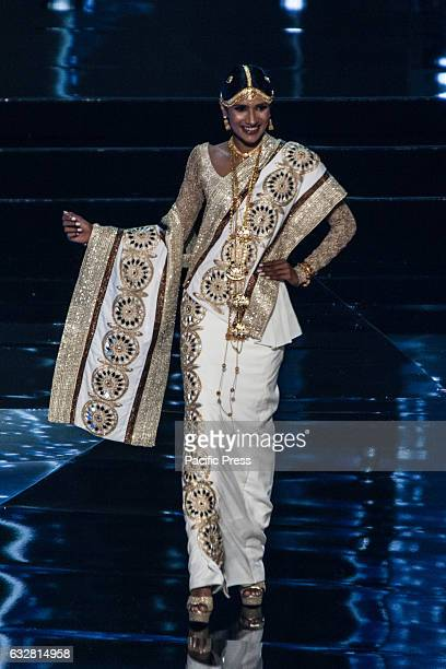 Miss Sri Lanka shows off her national costume at the Arena in Pasay City Candidates from different countries showed off their national costumes...