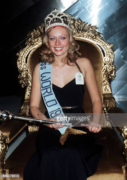 Miss Sweden 20 year old Mary AnnCatrin Stavin enthroned after winning the Miss World beauty contest at the Royal Albert Hall London