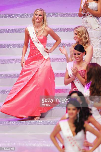 Miss Sweden Annie Oliv participates in the 57th Miss World final contest at the Beauty Crown Theatre on December 1 2007 in Sanya of Hainan province...