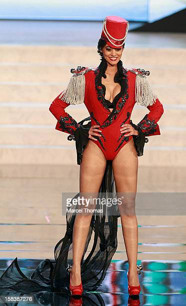 Miss Switzerland Alina Buchschacher displays her national costume at the 2012 Miss Universe National Costume event at Planet Hollywood Casino Resort...