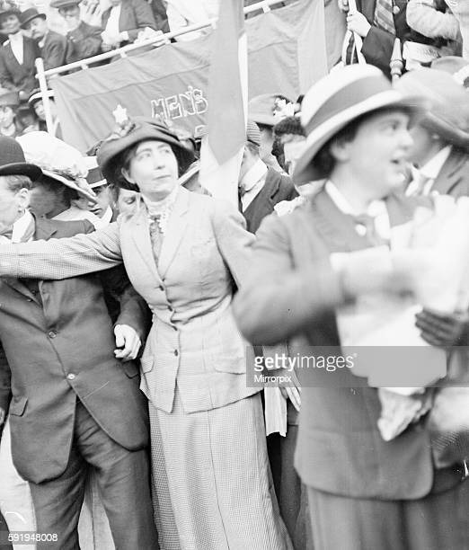 Miss Sylvia Pankhurst youngest daughter of Mrs Emmeline Pankhurst seen here addressing a massed meeting of suffragettes in Trafalgar Square 28th July...