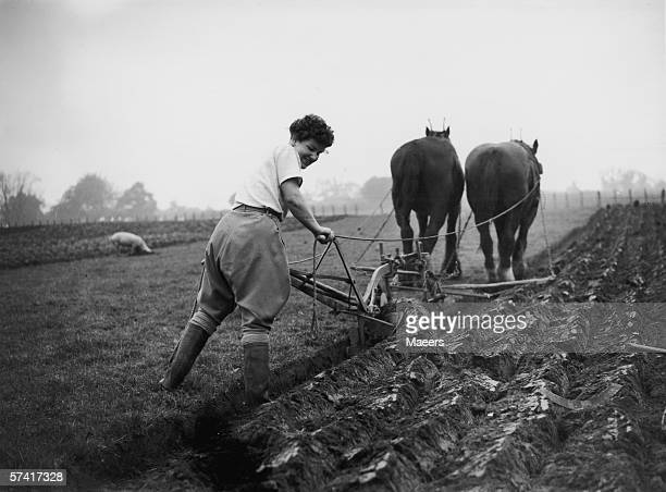 Miss T Poole of the Women's Land Army ploughing a field on a farm at Itton Monmouthshire where she has worked for a year 4th November 1940