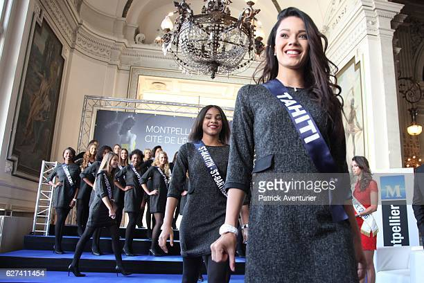 Miss Tahiti Vaea Ferrand parades during the official presentation of Miss France contestants in Montpellier southern France on December 3 ahead of...