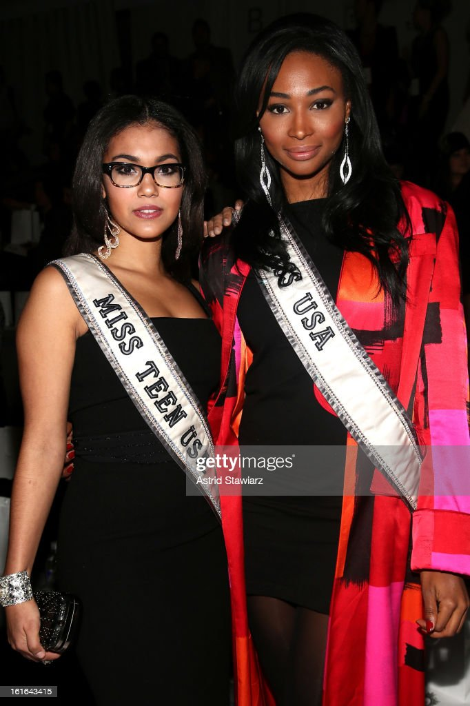 Miss Teen USA 2012 Logan West and Miss USA 2012 Nana Meriwether attend the Zang Toi Fall 2013 fashion show during Mercedes-Benz Fashion Week at The Stage at Lincoln Center on February 13, 2013 in New York City.
