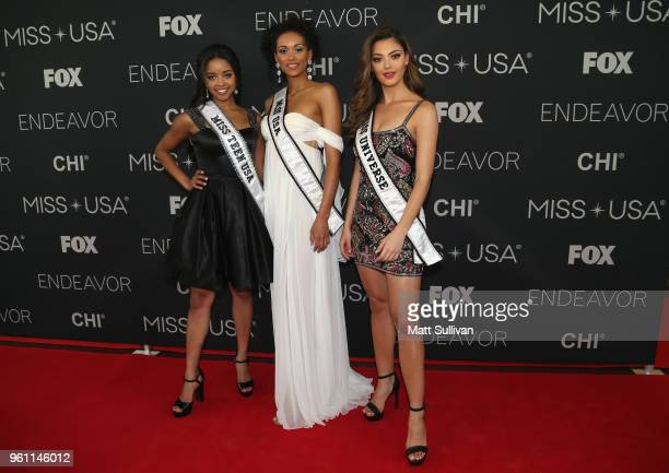 Miss Teen USA 2018 Hailey Colborn Miss USA 2017 Kara McCullough and Miss Universe 2017 DemiLeigh NelPeters pose for photos the red carpet at the...