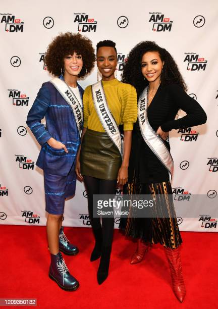 Miss Teen USA 2019 Kaliegh Garris Miss Universe 2019 Zozibini Tunzi and Miss USA 2019 Cheslie Kryst visit BuzzFeed's AM To DM on February 28 2020 in...