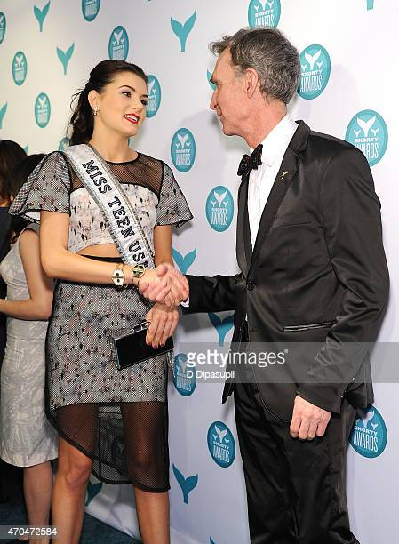 Miss Teen USA K Lee Graham and Bill Nye attend The 7th Annual Shorty Awards on April 20 2015 in New York City
