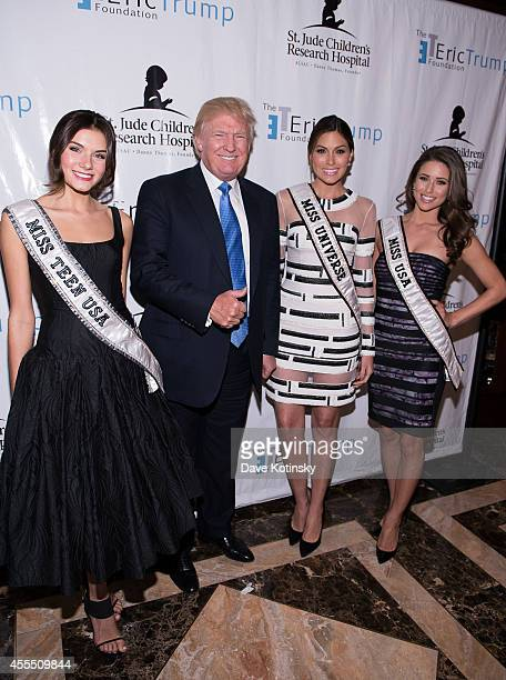 Miss Teen USA K Lee Graham Donald Trump Miss Universe Gabriela Isler and Miss USA Nina Sanchez attend The Eric Trump 8th Annual Golf Tournament at...