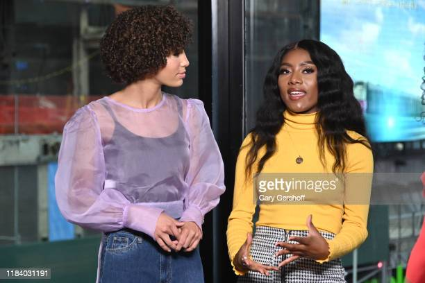 Miss Teen USA Kaliegh Garris and Miss America Nia Franklin visit Extra at R Lounge at the Renaissance Hotel on October 28 2019 in New York City