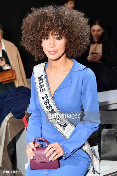 Miss Teen USA Kaliegh Garris attends the Vivienne Hu Fall/Winter 2020 New York Fashion Week Runway Show at Gallery II at Spring Studios on February...