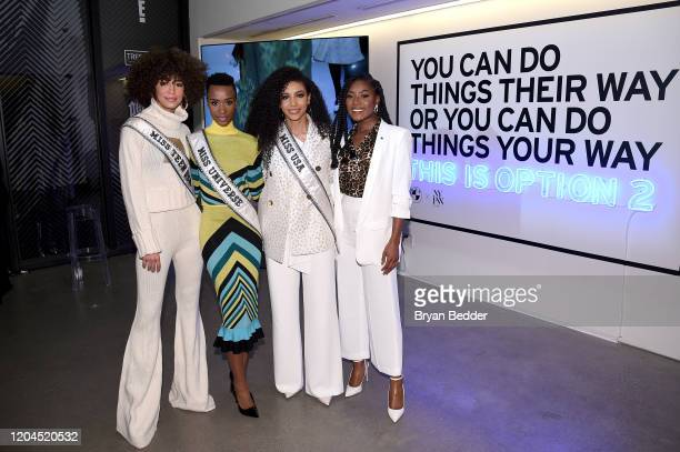 Miss Teen USA Kaliegh Garris Miss Universe Zozibini Tunzi Miss USA Cheslie Kryst and Miss America 2019 Nia Franklin poses in front of the BMW...