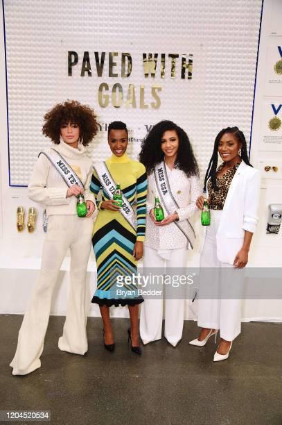 Miss Teen USA Kaliegh Garris Miss Universe Zozibini Tunzi Miss USA Cheslie Kryst and Miss America 2019 Nia Franklin pose at Visa's Grit Grace...