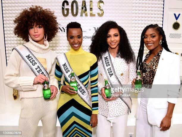 Miss Teen USA Kaliegh Garris Miss Universe Zozibini Tunzi Miss USA Cheslie Kryst and Miss America 2019 Nia Franklin enjoy a Perrier during NYFW The...