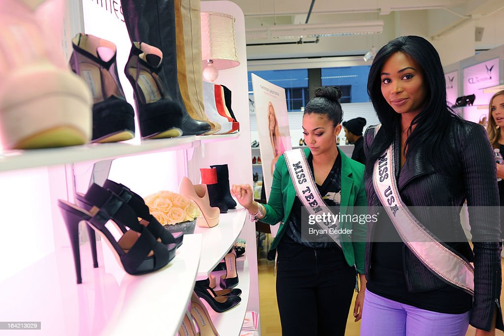 Miss Teen USA Logan West and Miss USA Nana Meriwether attend the Chinese Laundry Fall 2013 Preview on March 20, 2013 in New York City.