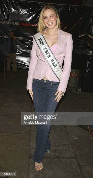 Miss Teen USA Tami Farrell arrives at the Luca Luca fashion show at Bryant Park during the Olympus 2004 Fall Fashion Show February 8 2004 in New York...