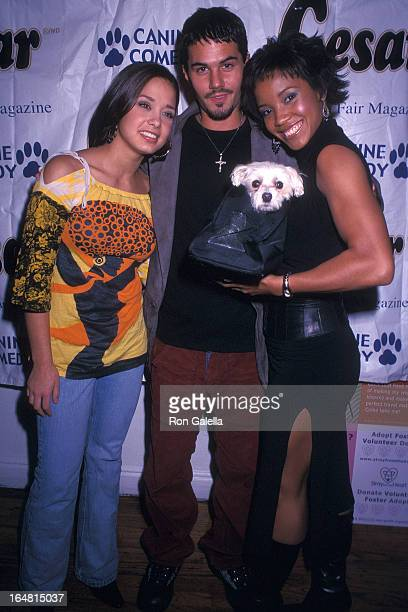 Miss Teen USA Vanessa Semrow actor Adam LaVorgna and Miss USA 2002 Shauntay Hinton attend the Animal Fair Magazine's Third Annual Canine Comedy to...