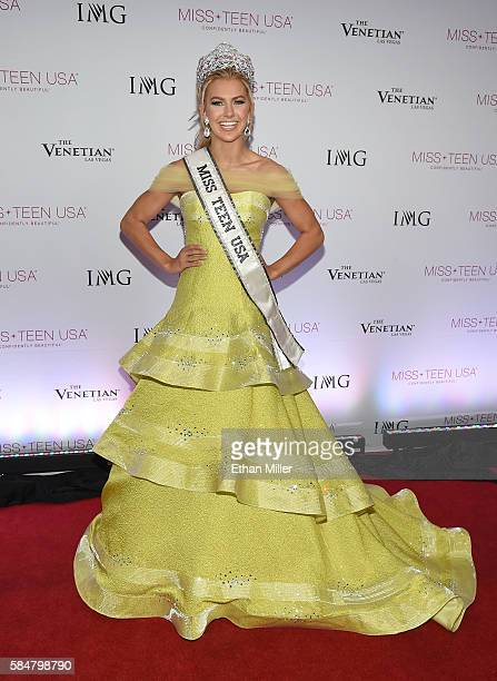 Miss Texas Teen USA 2016 Karlie Hay poses for photos after being crowned Miss Teen USA 2016 during the 2016 Miss Teen USA Competition at The Venetian...