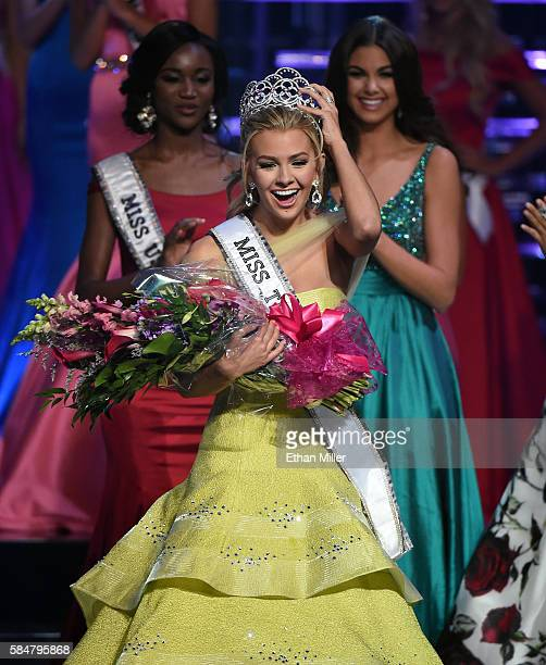 Miss Texas Teen USA 2016 Karlie Hay reacts after being crowned Miss Teen USA 2016 as Miss USA 2016 Deshauna Barber and Miss Teen USA 2015 Katherine...