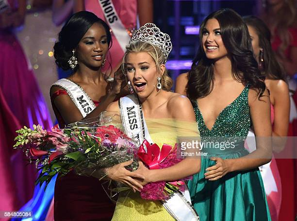 Miss Texas Teen USA 2016 Karlie Hay reacts as Miss USA 2016 Deshauna Barber and Miss Teen USA 2015 Katherine Haik crown Hay Miss Teen USA 2016 during...