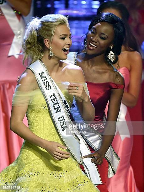 Miss Texas Teen USA 2016 Karlie Hay reacts as Miss USA 2016 Deshauna Barber puts the Miss Teen USA sash on her after Hay won the 2016 Miss Teen USA...