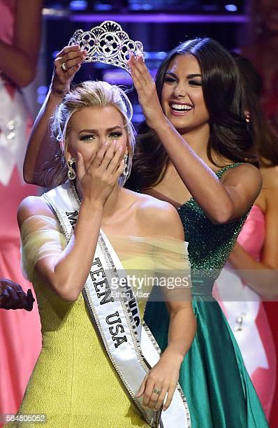 Miss Texas Teen USA 2016 Karlie Hay reacts as she is crowned Miss Teen USA 2016 by Miss Teen USA 2015 Katherine Haik during the 2016 Miss Teen USA...