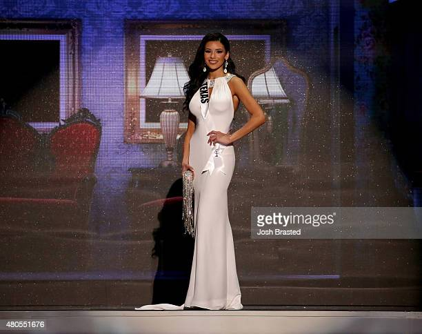 Miss Texas Ylianna Guerra poses onstage at the 2015 Miss USA Pageant Only On ReelzChannel at The Baton Rouge River Center on July 12 2015 in Baton...