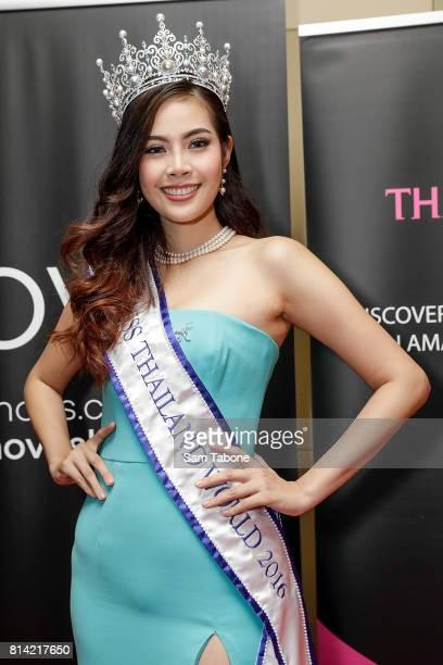 Miss Thailand Jinnita Buddee arrives at the Miss World Australia 2016 National Final at Grand Hyatt Melbourne on July 14 2017 in Melbourne Australia
