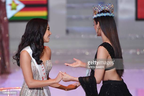 Miss Thailand Nicolene Pichapa Limsnukan reacts as she is announced the runner up in the 68th Miss World final as Miss World 2017 Manushi Chhillar...