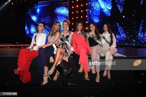 Miss Thailand Sophida Kanchanarin Miss Malta Francesca Mifsud and Miss Egypt Nariman Khaled at the rehearsals for the 2018 MISS UNIVERSE competition...