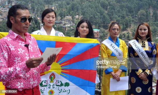 Miss Tibet participants along with director of Miss Tibet Lobsang Wangyal during the introduction round at Mcleodganj Town on May 30 2017 near...