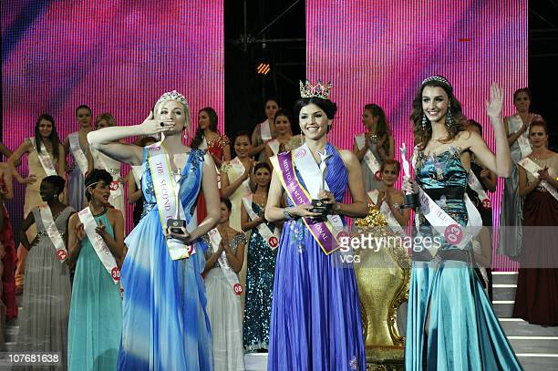 Miss Tourism 2010 Yessenia of Iceland 1st Runnerup Lexi of USA and 2nd Runnerup Babora of Czech celebrate after winning the 37th Miss Tourism...