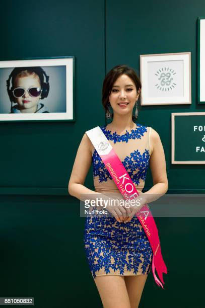 Miss Tourism South Korea posing for pictures at Nu Sentral shopping center on Novemebr 28 2017 in Kuala Lumpur Malaysia Representing 50 countries...