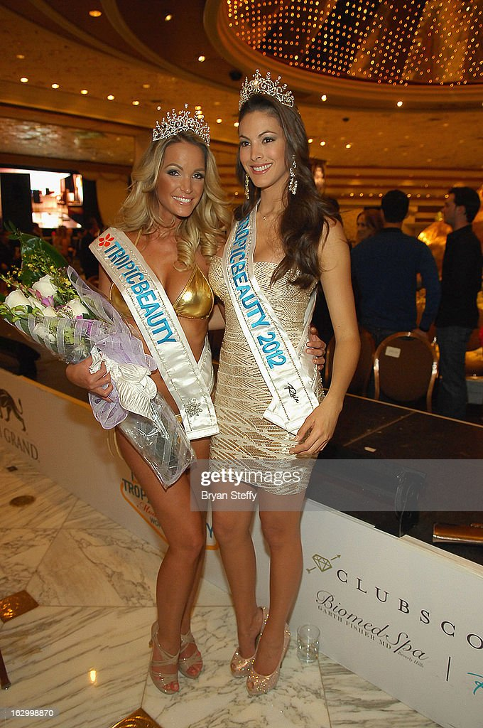 Miss TropicBeauty 2013 Linda Zimany (L) of Hungary and Miss TropicBeauty 2012 Ligia Hernandez appear at the third annual TropicBeauty World Finals at the MGM Grand Hotel/Casino on March 2, 2013 in Las Vegas, Nevada.