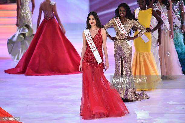 Miss Turkey Amine Gulse parades during the grand final of the Miss World 2014 pageant at the Excel London ICC Auditorium in London on December 14...