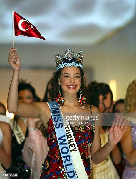 Miss Turkey,Azra Akin, celebrates her victory in the 2002 Miss World pageant 07 December 2002 at the Alexandra Palace in London. Ninety-two...