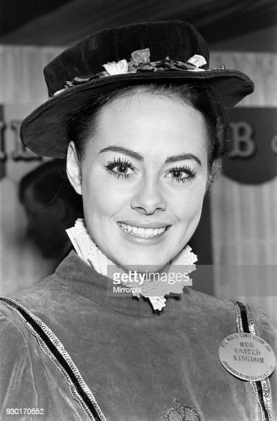 Miss UK 1964, Ann Sidney, Winner Miss World 1964, wearing national themed dress at Variety Club luncheon, the Savoy Hotel in London, 10th November...