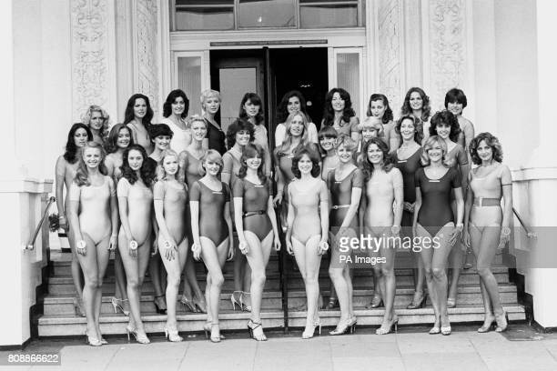 Miss UK contestants line up in Brighton ready for the final Back row from left Gina Kerr Linda Gallagher Geraldine Fuller Lynn Combes Jacqui Copland...