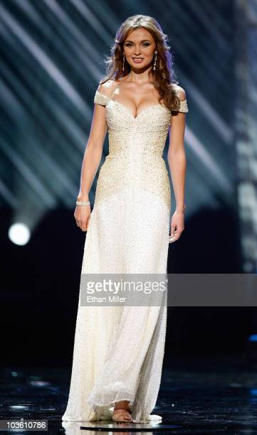 Miss Ukraine 2010 Anna Poslavska competes in the 2010 Miss Universe Pageant at the Mandalay Bay Events Center August 23 2010 in Las Vegas Nevada