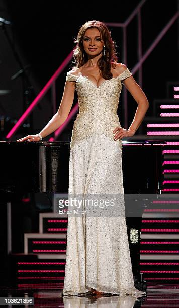Miss Ukraine 2010 Anna Poslavska competes in the evening gown competition during the 2010 Miss Universe Pageant at the Mandalay Bay Events Center...