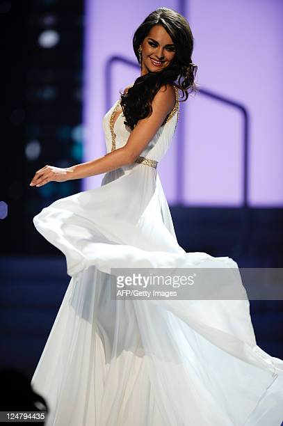 Miss Ukraine 2011 Olesia Stefanko performs during the 60th annual Miss Universe beauty pageant at the Credicard Hall in Sao Paulo on September 12...