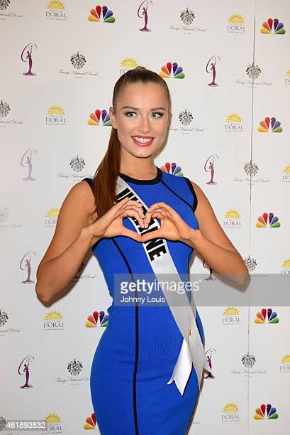 Miss Ukraine Diana Harkusha attends Miss Universe Press Junket at Crowne Plaza Hotel on January 20 2015 in Miami Florida