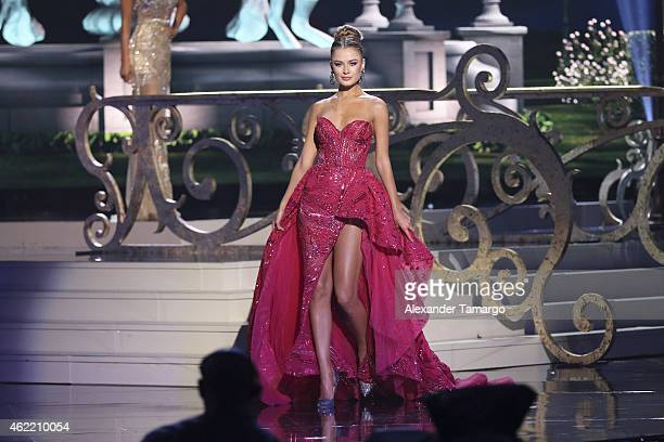 Miss Ukraine Diana Harkusha onstage during The 63rd Annual Miss Universe Pageant at Florida International University on January 25 2015 in Miami...