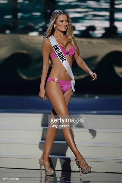 Miss Ukraine Diana Harkusha participtaes in the 63rd Annual Miss Universe Preliminary Show at Florida International University on January 21 2015 in...