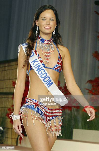 Miss United Kingdom Laura Shields attends a press preview of the 2004 Miss International Beauty Pageant on September 28 2004 in Tokyo Japan The...