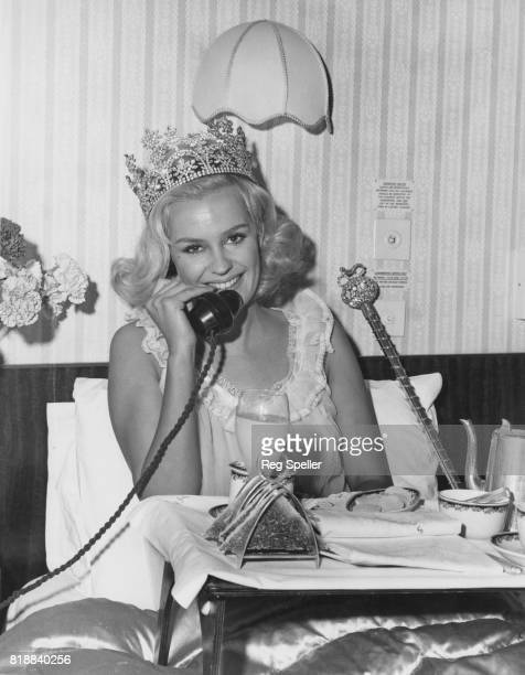 Miss United Kingdom Lesley Langley enjoys breakfast in bed the day after winning the 1965 Miss World contest in London 20th November 1965