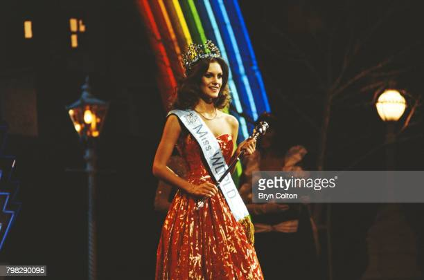 Miss United Kingdom Sarah Jane Hutt is crowned Miss World 1983 during the 33rd Miss World pageant at the Royal Albert Hall London 17th November 1983